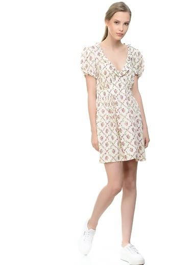 Motel Rocks V Yaka Desenli Kloş Elbise Krem